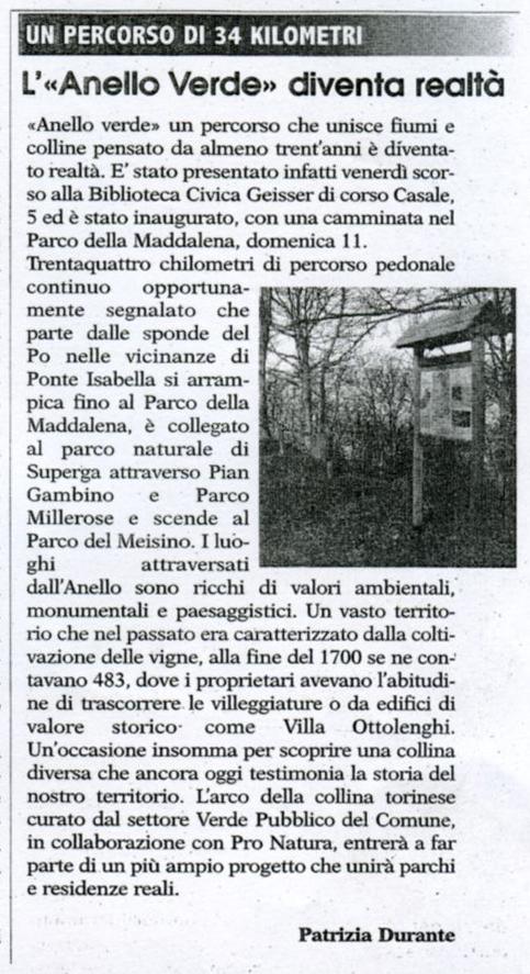 """""""L'Anello Verde diventa realtà"""" di Patrizia Durante, da La Nuova Voce di Torino del 16/03/2007"""