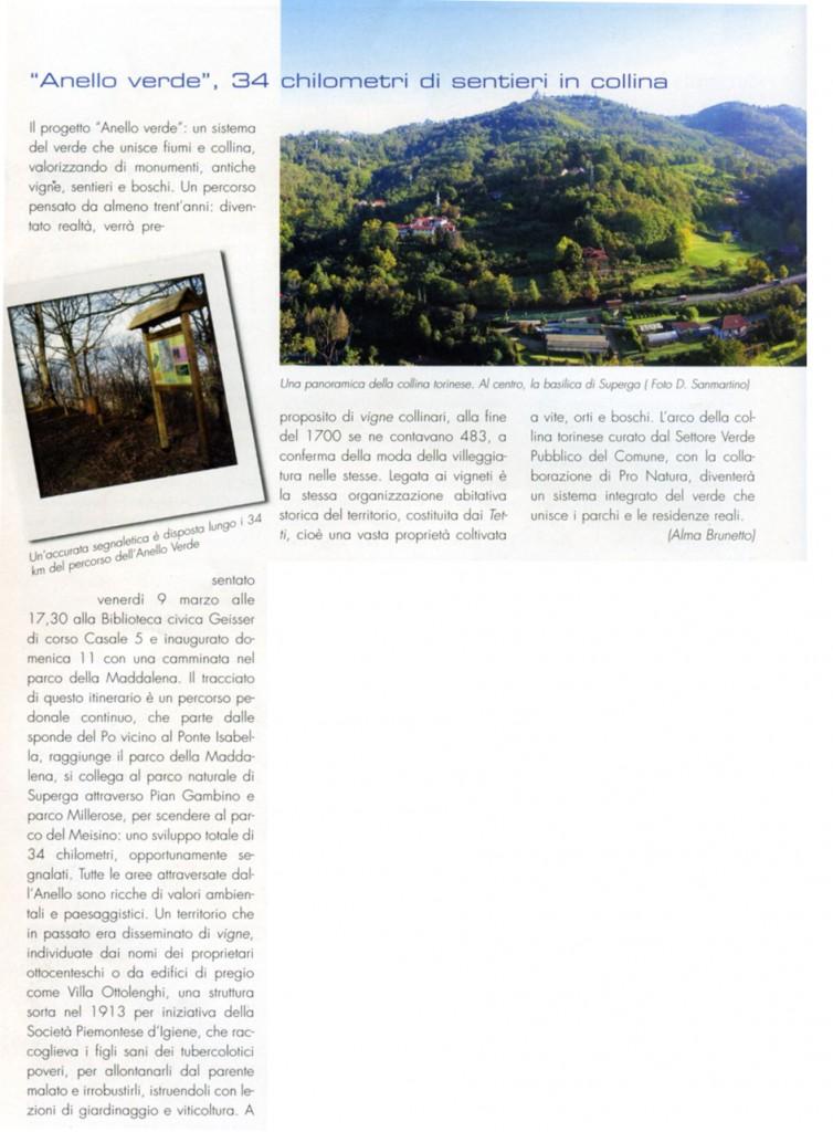 """""""Anello Verde, trentaquattro chilometri  di sentieri in collina"""" di Alma Brunetto, da Città Agorà – Torino del 26/02/2007"""